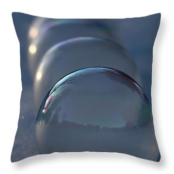 Blue Hour Frozen Bubbles Throw Pillow