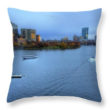 Blue Hour On The Charles Throw Pillow by Joann Vitali