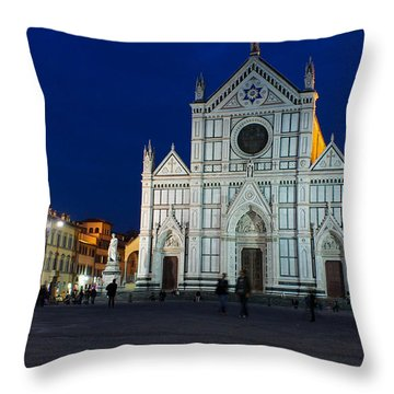 Blue Hour - Santa Croce Church Florence Italy Throw Pillow