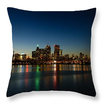 Blue Hour - Toronto's Dazzling Skyline Reflecting In Lake Ontario Throw Pillow