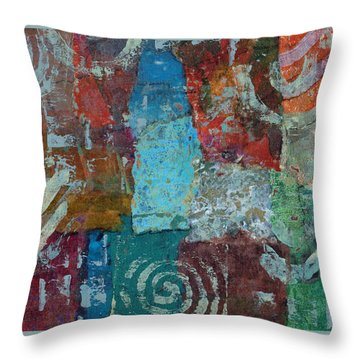 Throw Pillow featuring the mixed media Blue House by Catherine Redmayne