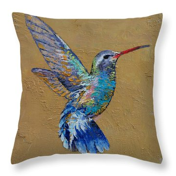 Turquoise Hummingbird Throw Pillow by Michael Creese