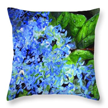 Blue Hydrangea After The Rain Throw Pillow by June Holwell
