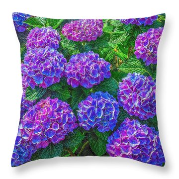 Throw Pillow featuring the photograph Blue Hydrangea by Hanny Heim