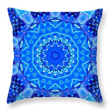 Throw Pillow featuring the photograph Blue Hydrangeas Flower Kaleidoscope by Rose Santuci-Sofranko