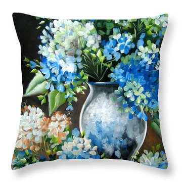 Throw Pillow featuring the painting Blue Hydrangeas by Patrice Torrillo