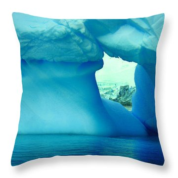 Blue Iceberg Antarctica Throw Pillow by Amanda Stadther