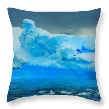 Throw Pillow featuring the photograph Blue Icebergs by Amanda Stadther