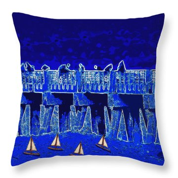 Blue II Toy Sailboats In Lake Worth Throw Pillow by David Mckinney