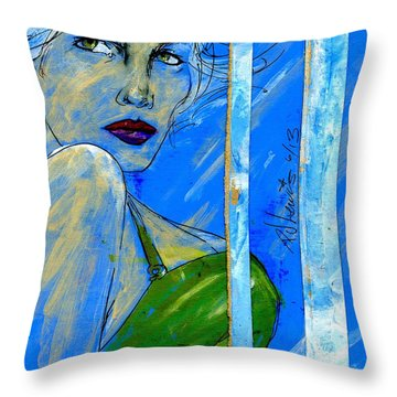 Blue In Green Throw Pillow by P J Lewis
