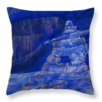 Blue Inukshuk Throw Pillow