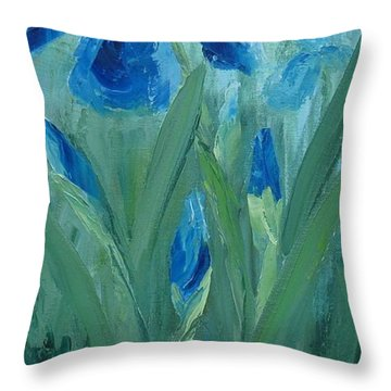 Blue Iris Throw Pillow by Mary Rogers