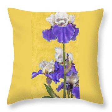 Throw Pillow featuring the digital art Blue Iris On Gold by Jane Schnetlage