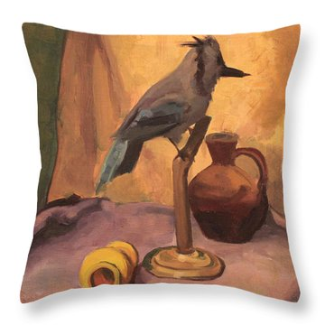 Blue Jay And Pottery 1929 Throw Pillow