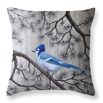 Blue Jay In Pines Throw Pillow