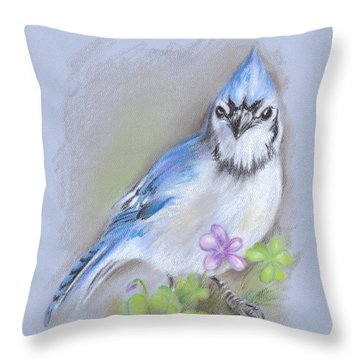 Blue Jay In Spring With Oxalis Throw Pillow