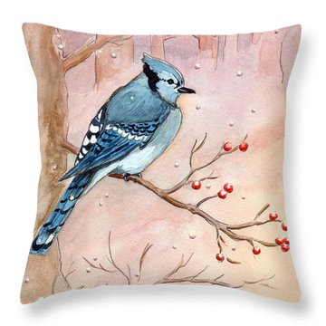 Blue Jay Throw Pillow by Katherine Miller