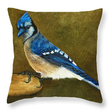 Blue Jay Throw Pillow by Nan Wright