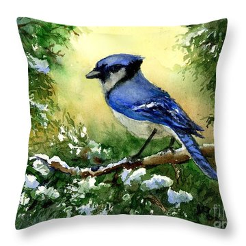 Blue Jay  On Cedar Throw Pillow