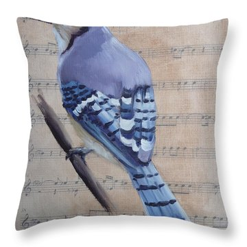 Blue Jay On Vintage Sheet Music Throw Pillow