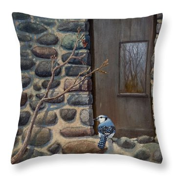 Blue Jay Throw Pillow by Rob Corsetti