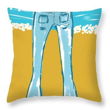 Blue Jean Summer Throw Pillow
