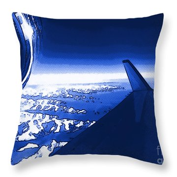 Blue Jet Pop Art Plane Throw Pillow