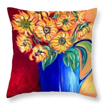 Blue Jug Yellow Flowers Throw Pillow by Caroline Street