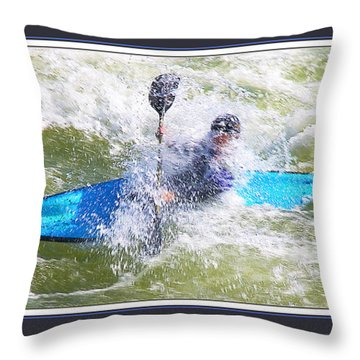 Blue Kayak At Great Falls Md Throw Pillow