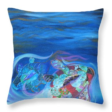 Blue Koi Throw Pillow