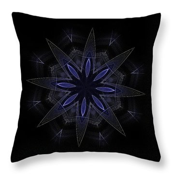 Blue Lace Fractal Mandala Throw Pillow