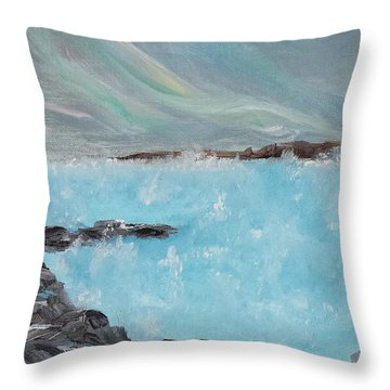 Blue Lagoon Iceland Throw Pillow