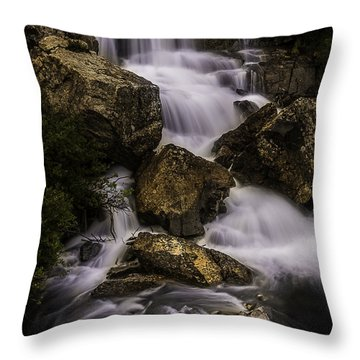 Blue Lake Falls Throw Pillow