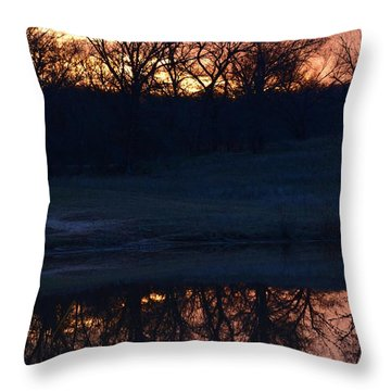 Blue Lake Sunset Xi Throw Pillow