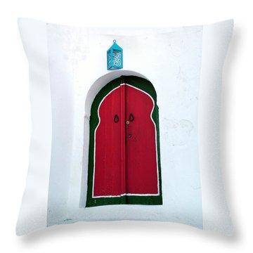 Blue Lantern Over Red Door Throw Pillow