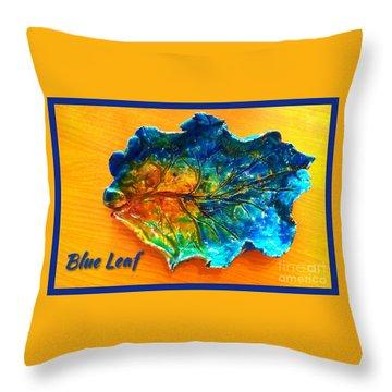 Blue Leaf Ceramic Design Throw Pillow by Joan-Violet Stretch