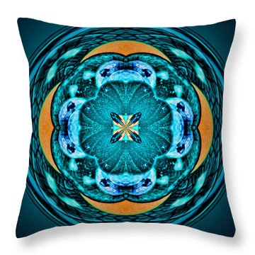 Blue Leaf Mandala Kaleidoscope Throw Pillow