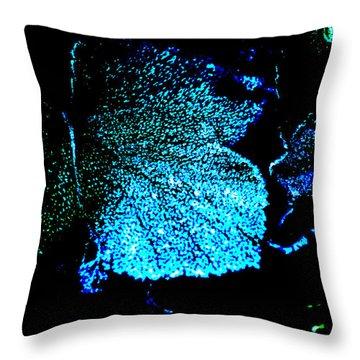 Throw Pillow featuring the digital art Blue Leaf by Randi Grace Nilsberg