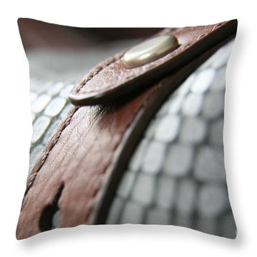 Blue Leather Throw Pillow by Lynn England