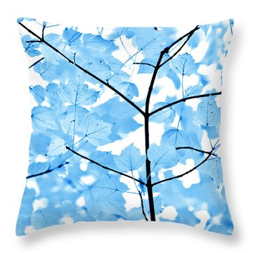 Blue Leaves Melody Throw Pillow