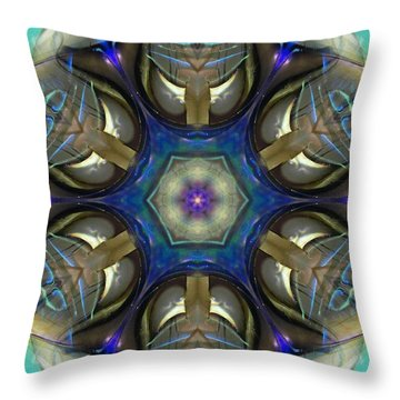 Blue Light Angel Mandala Throw Pillow