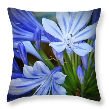 Blue Lilie Throw Pillow