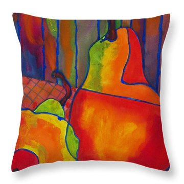 Blue Line Pears Throw Pillow by Blenda Studio