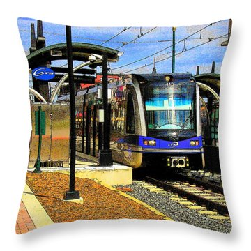 Throw Pillow featuring the photograph Blue Line by Rodney Lee Williams