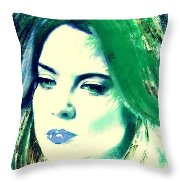 Blue Lips On Green Throw Pillow by Kim Prowse