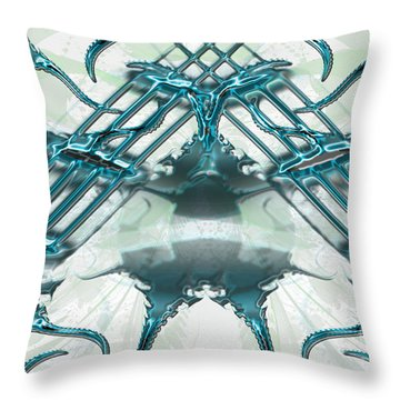Throw Pillow featuring the digital art Blue Liquid Around The World by Melissa Messick