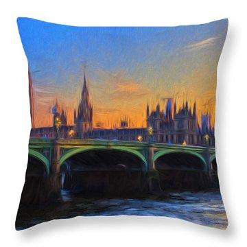Blue London Throw Pillow