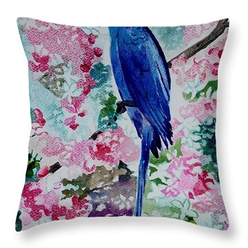 Blue Macaw  Throw Pillow by Geeta Biswas