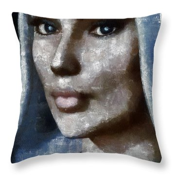 Blue Madonna Throw Pillow by Tyler Robbins