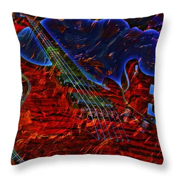 Throw Pillow featuring the photograph Blue Magic Digital Guitar Art By Steven Langston by Steven Lebron Langston